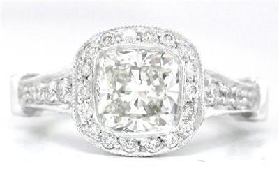 14K WHITE GOLD CUSHION CUT DIAMOND ENGAGEMENT RING BEZEL 1.88CT DECO
