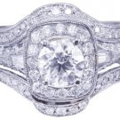 14k White Gold Round Cut Diamond Engagement Ring And Bands Halo Filigree 2.70ctw