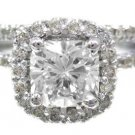 18K WHTIE GOLD CUSHION CUT DIAMOND ENGAGEMENT RING AND BAND HALO 1.79CTW