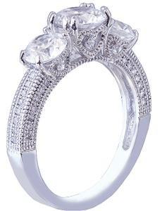 18K WHITE GOLD ROUND CUT DIAMOND ENGAGEMENT RING ANTIQUE STYLE PRONG SET 1.60CTW