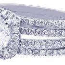 18K WHITE GOLD ROUND CUT DIAMOND ENGAGEMENT RING HALO PRONG SET ART DECO 1.89CTW