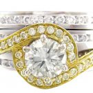 14K WHITE AND YELLOW GOLD ROUND CUT DIAMOND ENGAGEMENT RING AND BAND DECO 1.75CT