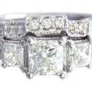 14K WHITE GOLD PRINCESS CUT DIAMOND ENGAGEMENT RING AND BAND 1.80CT H-SI1 EGL US
