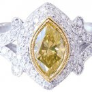 18K WHITE GOLD MARQUISE CUT DIAMOND ENGAGEMENT RING FANCY YELLOW 1.70CT EGL USA