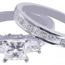 14K WHITE GOLD PRINCESS CUT DIAMOND ENGAGEMENT RING AND BAND 2.15CT H-VS2 EGL US