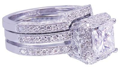 14K white gold princess cut diamond engagement ring and band 2.50ct H-VS2 EGL US