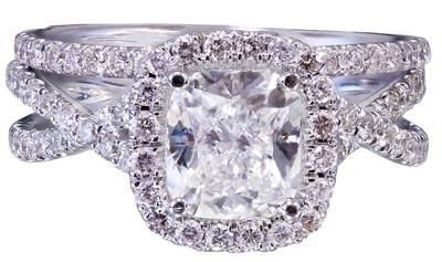 18k White Gold Cushion Cut Diamond Engagement Ring And Band 2.50ct G-VS2 EGL USA