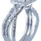 18K WHITE GOLD PRINCESS CUT DIAMOND ENGAGEMENT RING AND BAND 1.74CT H-VS2 EGL US