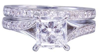 18k White Gold Princess Cut Diamond Engagement Ring And Band 2.10ct G-VS2 EGL US