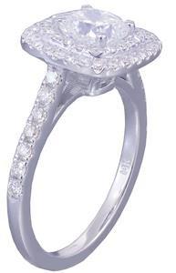 GIA F-VS2 14k White Gold Cushion Cut Diamond Engagement Ring Soleste 1.65ctw