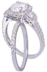 GIA I-SI1 18k White Gold Round Cut Diamond Engagement Ring And Band Halo 2.10ct