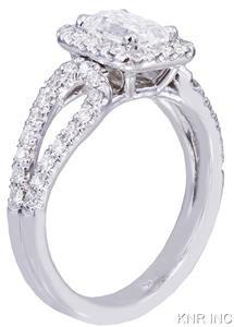 14K WHITE GOLD EMERALD CUT DIAMOND ENGAGEMENT RING HALO DECO 1.70CT H-VS2 EGL US