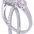 GIA H-SI1 18k White Gold Round Cut Diamond Engagement Ring And Band Halo 2.10ct