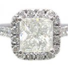 18K WHITE GOLD PRINCESS CUT DIAMOND ENGAGEMENT RING ART DECO STYLE HALO 2.30CTW