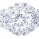 14K WHITE GOLD ROUND CUT DIAMOND ENGAGEMENT RING ANTIQUE STYLE ART DECO 2.10CTW