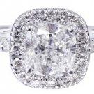 14k White Gold Cushion Cut Diamond Engagement Ring Halo 1.50ctw H-VS2 EGL USA