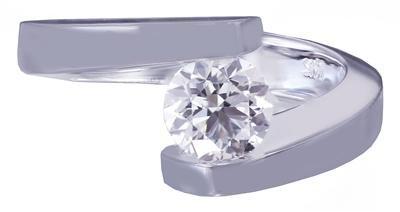 14K WHITE GOLD ROUND DIAMOND ENGAGEMENT RING TENSION SET 1.20CT H-VS2 EGL USA