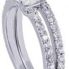 18K WHITE GOLD PRINCESS CUT DIAMOND ENGAGEMENT RING AND BAND 2.00CT H-VS2 EGL US