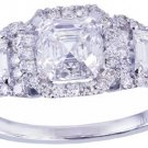 GIA H-VS2 18k white gold asscher cut diamond engagement ring halo deo 2.50ctw