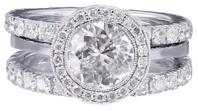 14k White Gold Round Cut Diamond Bezel Set Engagement Ring And Two Bands 2.40ctw