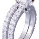18k White Gold Cushion Cut Diamond Engagement And Band Prong 1.88ct F-VS2 EGL US