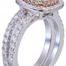 14K White Gold Cushion Cut Diamond Engagement Ring And Band 2.10ct H-VS2 EGL USA