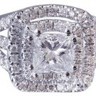 18k White Gold Princess Cut Diamond Engagement Ring Art Deco Triple Band 1.75ctw