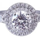 18K WHITE GOLD ROUND CUT DIAMOND ENGAGEMENT RING ART DECO DOUBLE HALO 2.12CTW