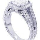 18K WHITE GOLD PRINCESS CUT DIAMOND ENGAGEMENT RING PRONG 2.10CTW H-SI1 EGL USA