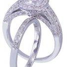 14k white gold cushion cut diamond engagement ring and band 2.00ct H-VS2 EGL USA