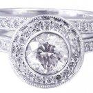 18k White Gold Round Diamond Engagement Ring And Band Bezel Set Halo 1.40ctw