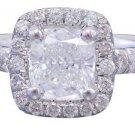 GIA F-SI1 18k White Gold Cushion Cut Diamond Engagement Ring Halo Deco 1.60ctw