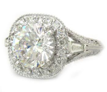 14K WHITE GOLD ROUND CUT DIAMOND ENGAGEMENT RING ART DECO ANTIQUE 2.00CTW