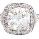 14K WHITE GOLD ROUND CUT DIAMOND ENGAGEMENT RING ART DECO STYLE HALO 2.20CTW