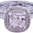 14K WHITE GOLD CUSHION CUT DIAMOND ENGAGEMENT RING AND BAND HALO 2.50CTW