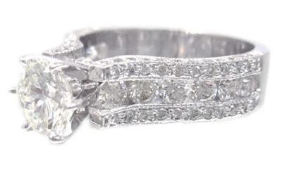 14K WHITE GOLD ROUND CUT DIAMOND ENGAGEMENT RING ART DECO ANTIQUE STYLE 2.22CTW