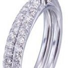 GIA H-SI1 14k White Gold Round Cut Diamond Engagement Ring And Band 1.45ct