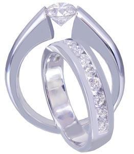 GIA H-VS2 14K WHITE GOLD ROUND CUT DIAMOND ENGAGEMENT RING BAND TENSION 1.20CT