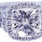 GIA H-VS2 14K White Gold Cushion Cut Diamond Engagement Ring Art Deco 2.65ctw