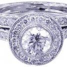 18k White Gold Round Cut Diamond Engagement Ring And Band Bezel Set Deco 1.70ct