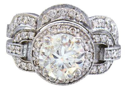 14K WHITE GOLD ROUND CUT DIAMOND ENGAGEMENT RING AND BAND 1.98CT H-SI1 EGL USA