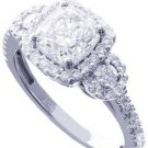 18K WHITE GOLD CUSHION CUT DIAMOND ENGAGEMENT RING ART DECO 2.28CT H-VS2 EGL USA