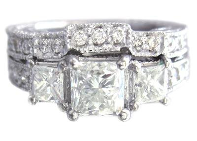 14K WHITE GOLD PRINCESS CUT DIAMOND ENGAGEMENT RING AND BAND ANTIQUE STYL 1.55CT