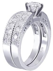 14k White Gold Round Cut Diamond Engagement Ring And Band Antique Deco 1.00ctw