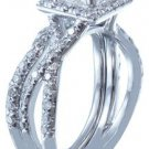 18K WHITE GOLD PRINCESS CUT DIAMOND ENGAGEMENT RING AND BAND DECO HALO 1.74CT