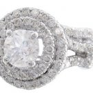 18K WHITE GOLD ROUND CUT DIAMOND ENGAGEMENT RING AND BAND DOUBLE HALO 1.90CTW