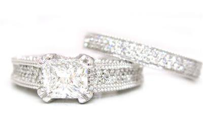 14K WHITE GOLD PRINCESS CUT DIAMOND ENGAGEMENT RING AND BAND 2.15CTW EGL USA