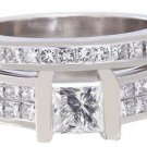 14K WHITE GOLD PRINCESS DIAMOND ENGAGEMENT RING AND BAND TENSION 1.75CTW