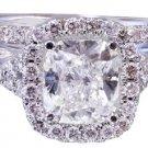 18k White Gold Cushion Cut Diamond Engagement Ring And Band 2.50ct H-VS2 EGL USA
