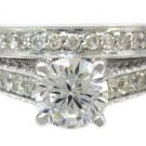 14K WHITE GOLD ROUND CUT DIAMOND ENGAGEMENT RING AND BAND ANTIQUE STYLE 1.75CTW